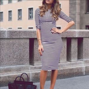Zara bodycon midi dress - navy & white stripes